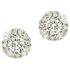 1.75 Carat Big Round and Marquise Diamond on Ear Earring in 14 Karat White Gold
