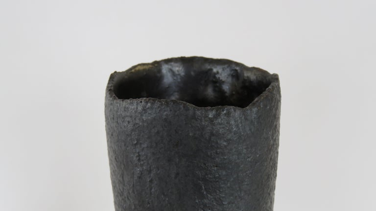 Ceramic Tall Tubular Metallic Black Stoneware Vase, Hand Built For Sale