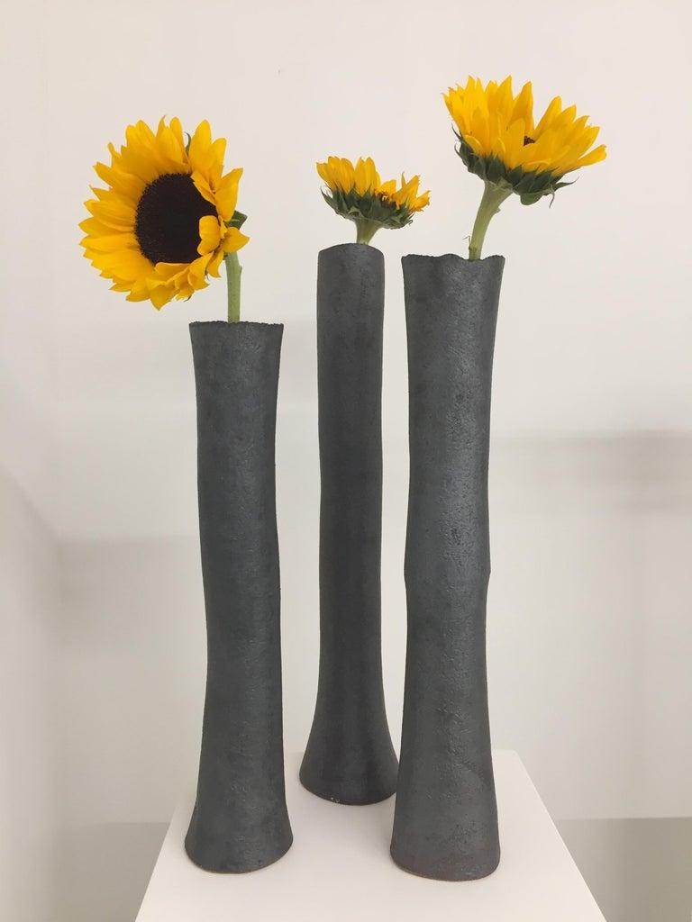 Tall Tubular Metallic Black Stoneware Vase, Hand Built For Sale 5