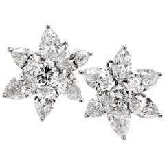 17.50 Carat Pear Marquise Round Cut Diamond Platinum Cluster Stud Earrings