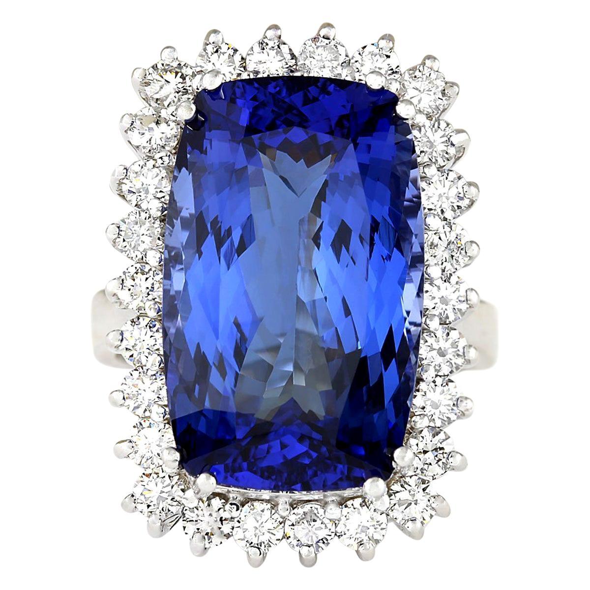 17.50 Carat Tanzanite 18 Karat White Gold Diamond Ring