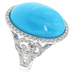 17.50 Carats Oval Cabochon Turquoise Diamond Ring in 18 Karat White Gold