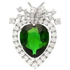 17.55 Carat Tourmaline and 3.76 Carat Diamond, Platinum Pendant Brooch