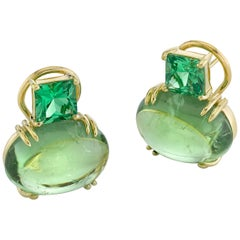 17.56 ct. t.w. Tourmaline Cabochon & Tsavorite Garnet 18k French Clip Earrings