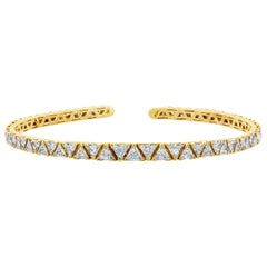 17.57 Carat Trillion Diamond Yellow Gold Choker Necklace