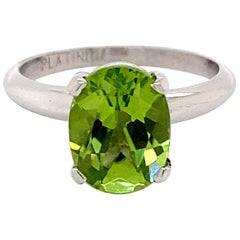 1.75ct Peridot and Platinum Solitaire Ring