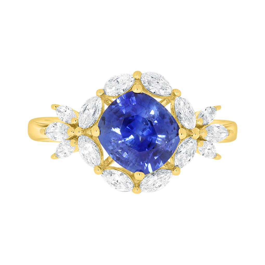 1.75ct Sapphire Ring with 0.62tct Diamonds Set in 14k Yellow Gold