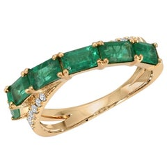 1.76 Carat Colombian Emerald & 0.12 Carat Diamonds in 14K Yellow Gold Band Ring