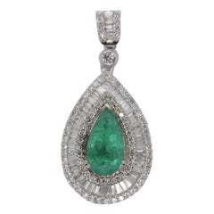 1.76 Carat Colombian Emerald and Diamond Pendant in 18 Karat Gold