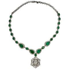 17.6 Carat Emerald 6.3 Carat Diamond Pendant Necklace Antique Estate Gold