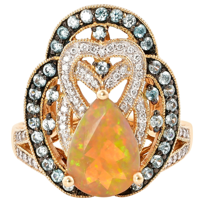 1.76 Carat Ethiopian Opal Ring in 14 Karat Yellow Gold with Diamonds