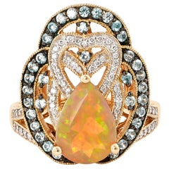 1.76 Carat Ethiopian Opal Ring in 14 Karat Yellow Gold with Diamonds