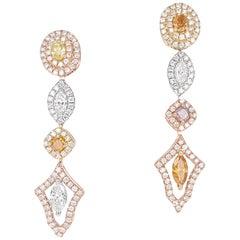 1.76 Carat, Fancy Colored Diamond and Fancy Shape Dangle Earrings