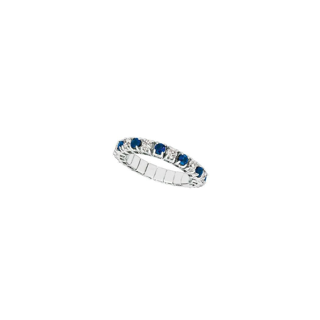 1.76 Carat Natural Diamond & Sapphire Stretch Eternity Band Ring 14k White Gold