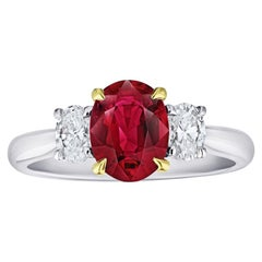 1.76 Carat Oval Red Ruby and Diamond Ring