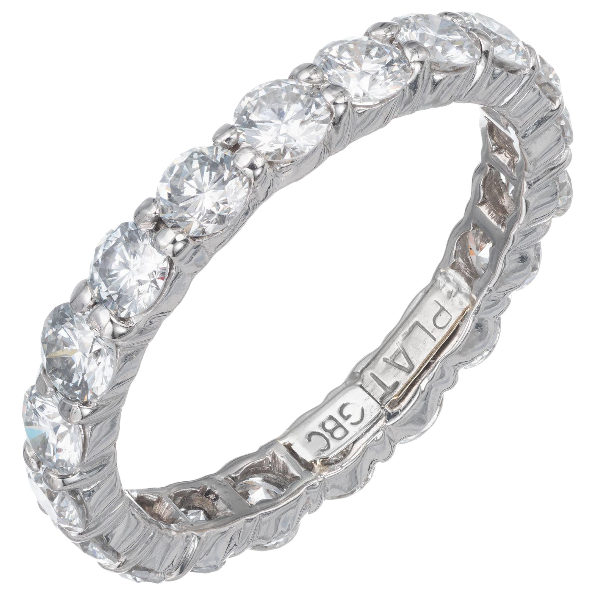 1.76 Carat Round Diamond Platinum Eternity Wedding Band Ring
