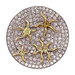 1.76 Carat Yellow and White Diamond Star Motif Ring