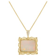 17.60 Carat Emerald Cut Opal and Diamond Pendant