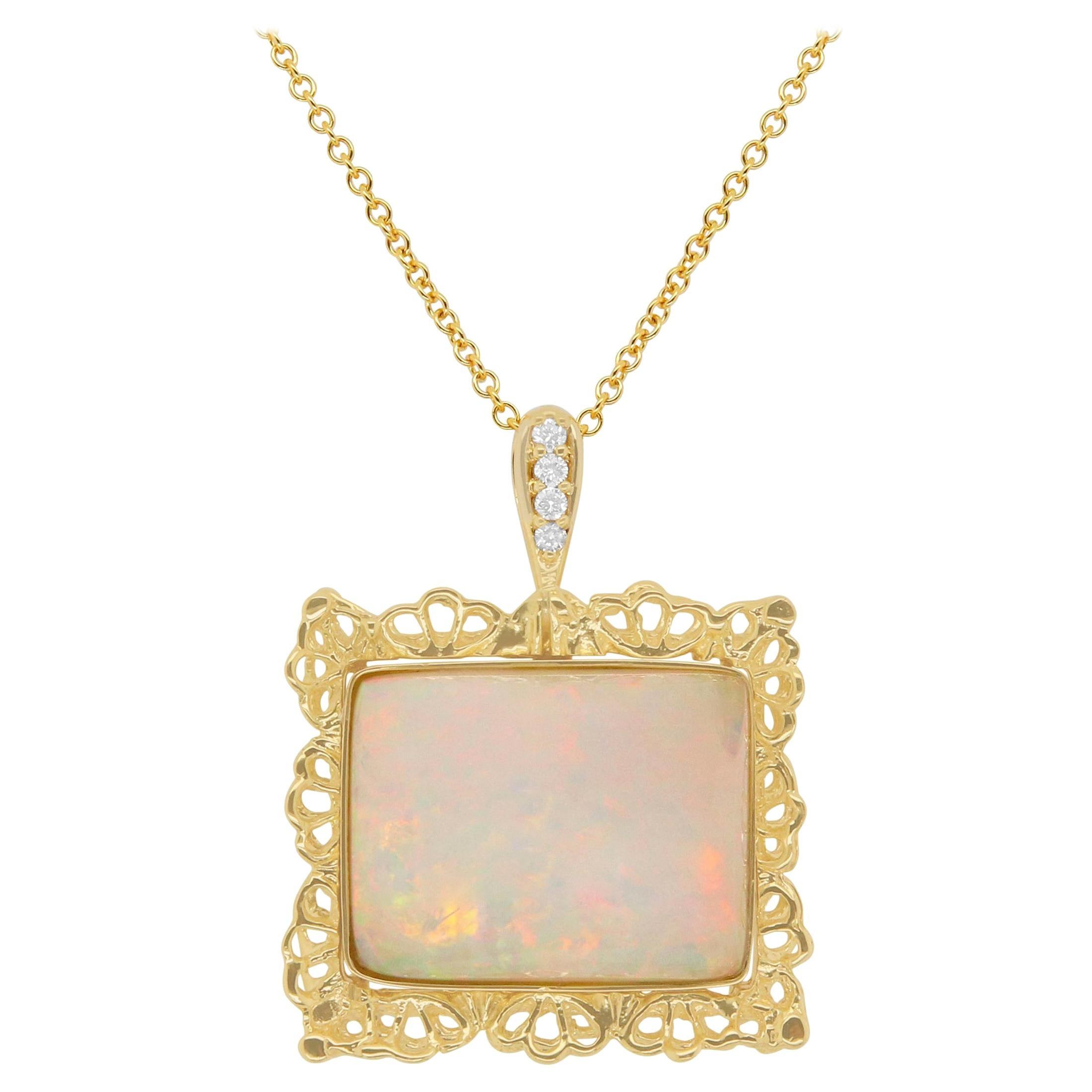 17.60 Carat Emerald Cut Opal and Round White Diamond Pendant 18K Yellow Gold