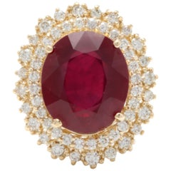 17.60 Carat Impressive Red Ruby and Diamond 14 Karat Yellow Gold Ring