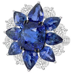 17.66 Carat Blue Sapphire Diamond 18 Karat White Gold Ring