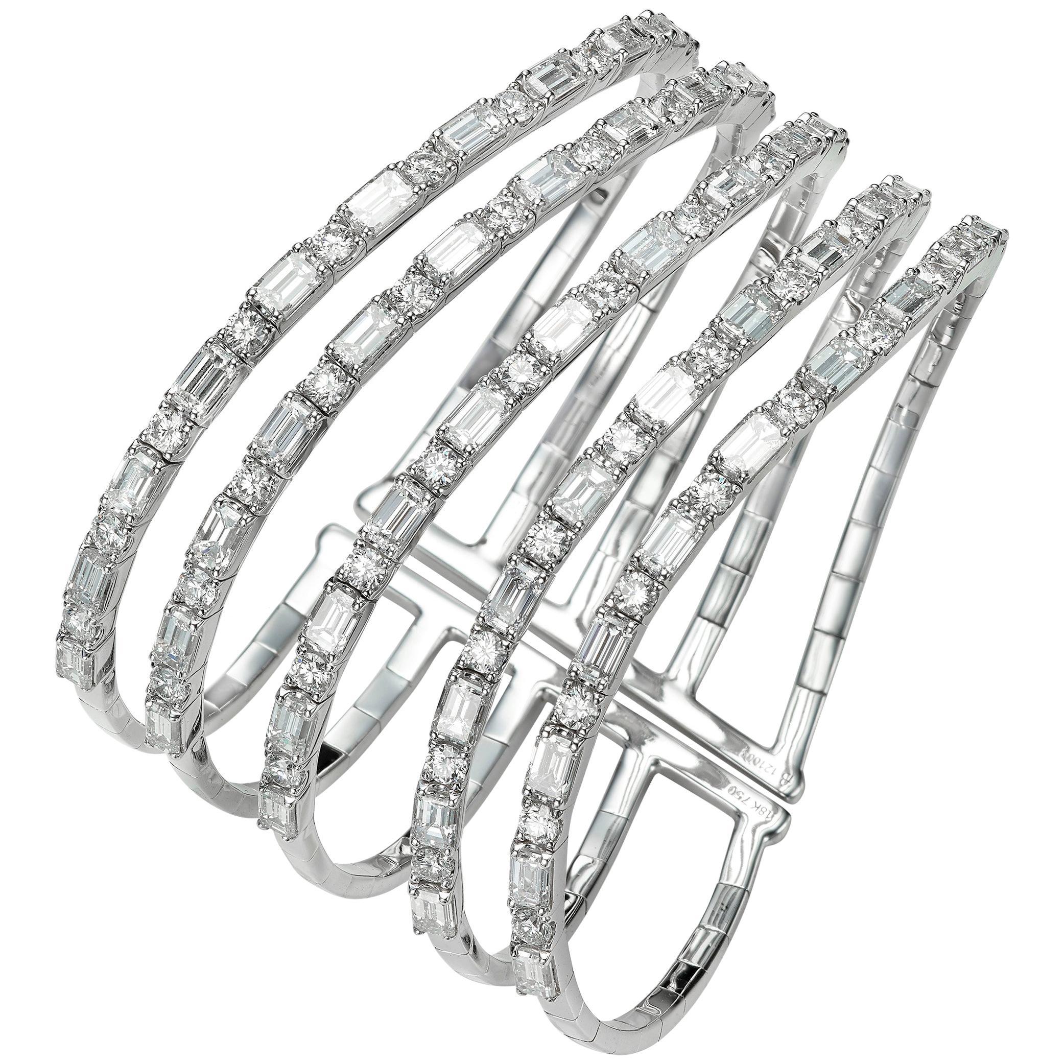 17.66 Carat Five-Row Diamond 18 Karat White Gold Cuff Bangle