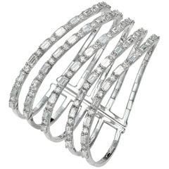 17.66 Carat Five-Row Diamond 18 Karat White Gold Cuff Bangle