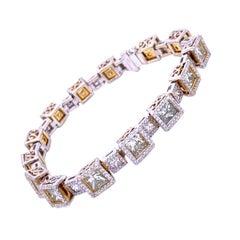 17.66 Carat Princess Cut Diamond Tennis Bracelet with Halo
