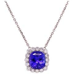 17.69 Carat Cushion Cut Tanzanite White Gold and Diamond Pendant Necklace