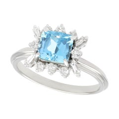 1.77 Carat Aquamarine Diamond White Gold Cocktail Ring