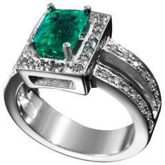1.77 Carat Colombian Emerald and Diamond Ring