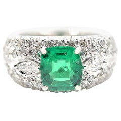 1.77 Carat Cushion Cut Emerald and Diamond Ring 14 Karat White Gold