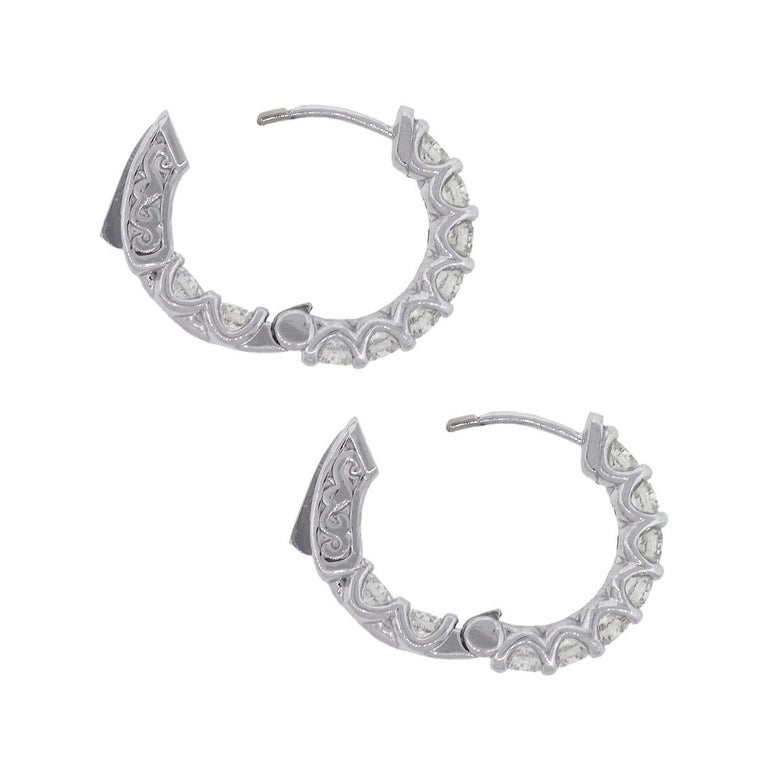 1.77 Carat Diamond Inside Out Hoops In Excellent Condition For Sale In Boca Raton, FL