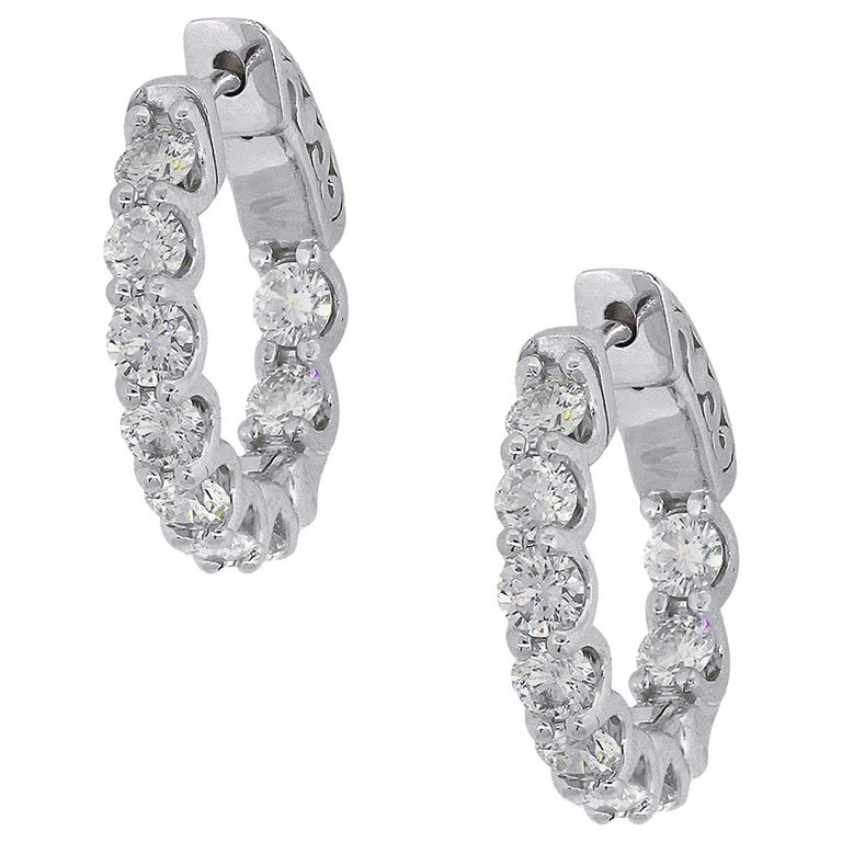 1.77 Carat Diamond Inside Out Hoops For Sale