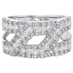 1.77 Carat Diamond Ring, 18 Carat White Gold Diamond Band Cocktail Diamond Ring