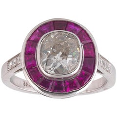 1.77 Carat Old Cut Diamond Ruby White Gold Cluster Ring
