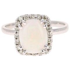 1.77 Carat Opal Diamond 14 Karat White Gold Ring