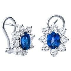 1.77 Carat Oval Blue Sapphire and 1.60 Carat Round Diamond Halo Lever Back Studs