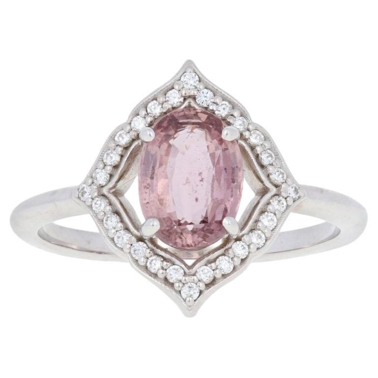 1.77 Carat Oval Cut Padparadscha Sapphire and Diamond Ring, 14 Karat Gold Halo
