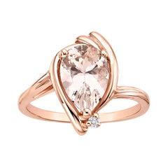 Pear Shaped Pink Morganite Diamond Ring
