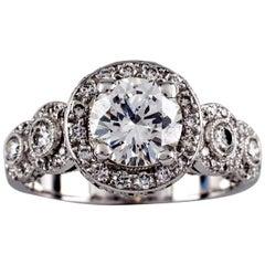 1.77 Carat Round Brilliant Diamond 18 Karat White Gold Engagement Ring
