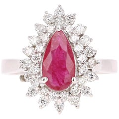 1.77 Carat Ruby Diamond White Gold Cocktail Ring