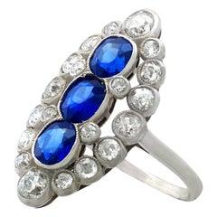 1.77 Carat Sapphire 1.86 Carat Diamond Platinum Marquise Cocktail Ring