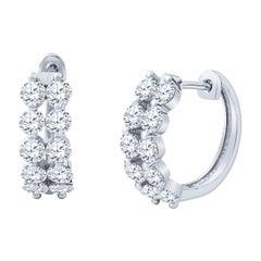 1.77 Carat Total Round Brilliant Cut Diamond Double Row Hoop Earrings, 18 Karat