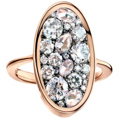 1.77 Carat White Old-Cut, Rose-Cut and Brilliant-Cut Diamond Pave Ring