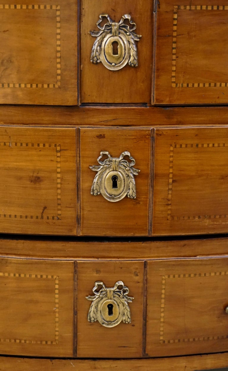 18th Century 1770s Bow Front French Provincial Marquetry Commode in Solid Walnut & Marble Top For Sale