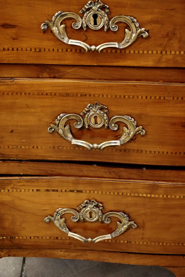 Bronze 1770s Bow Front French Provincial Marquetry Commode in Solid Walnut & Marble Top For Sale
