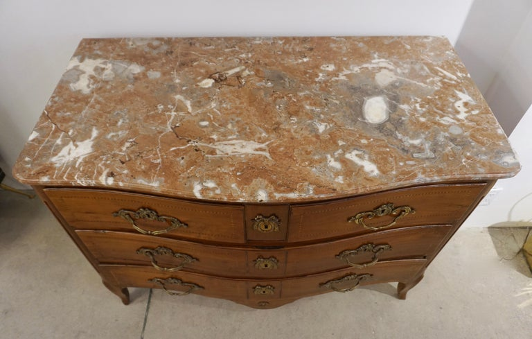 1770s Bow Front French Provincial Marquetry Commode in Solid Walnut & Marble Top For Sale 2