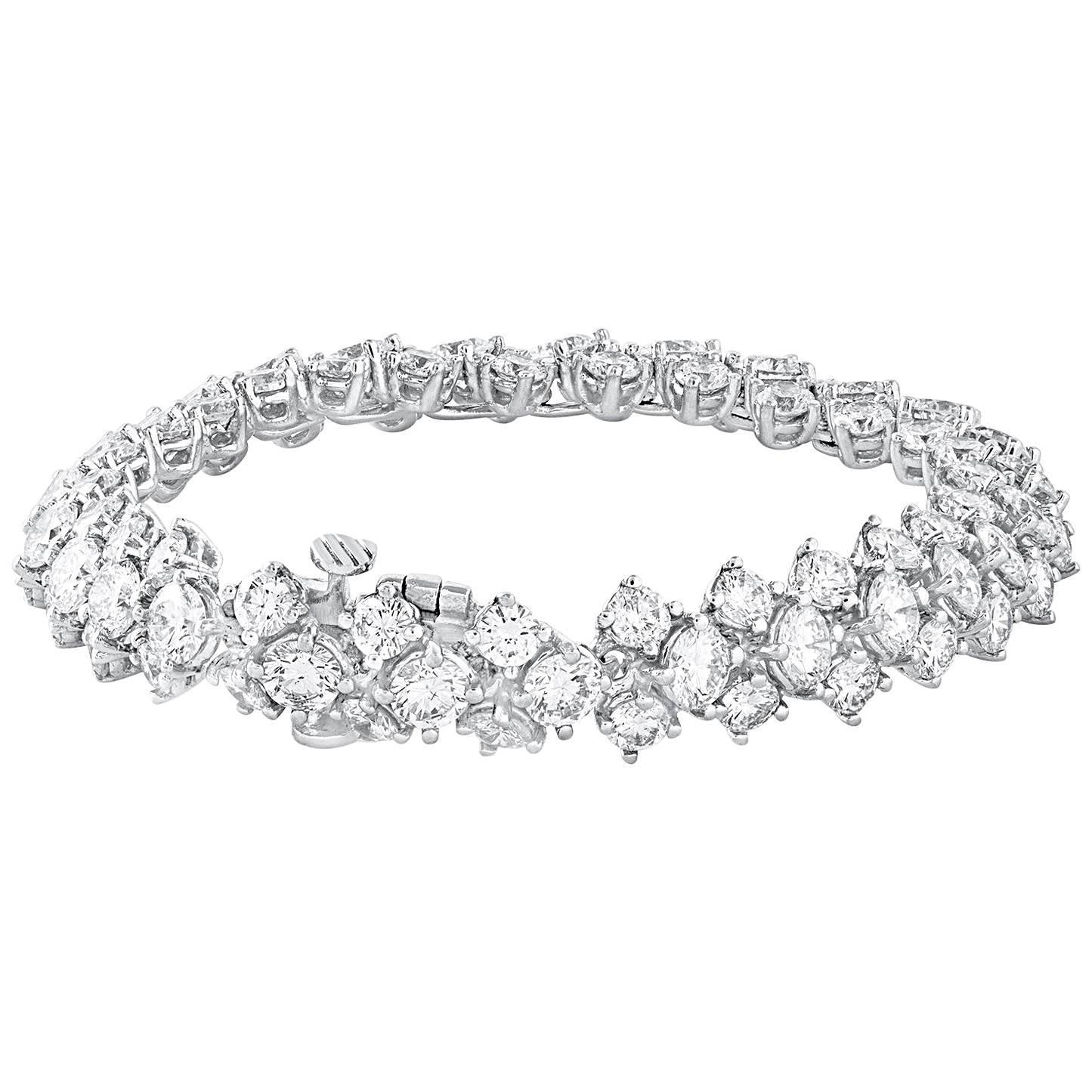 17.71 Carat Three-Row Diamond Tennis Bracelet