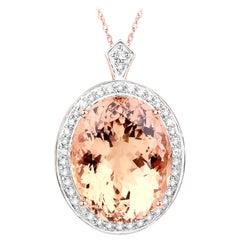 17.73 Carat Genuine Morganite and White Diamond 14 Karat Rose Gold Pendant